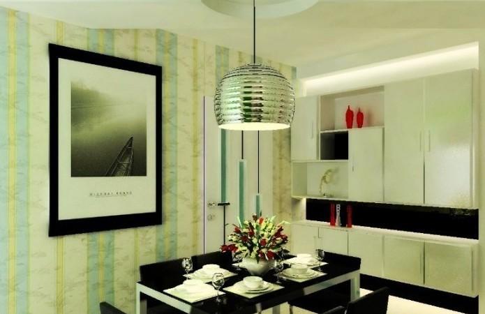 華楠半島現代風格餐廳裝修設計實景圖